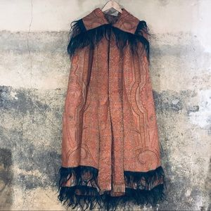 Vintage antique red tapestry pony hair cape